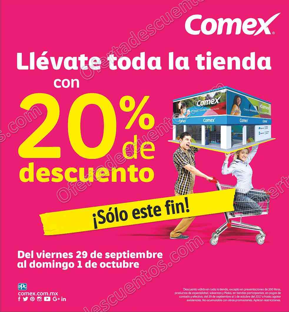 Comex: 20% de Descuento del 29 de septiembre al 1 de Octubre 2017