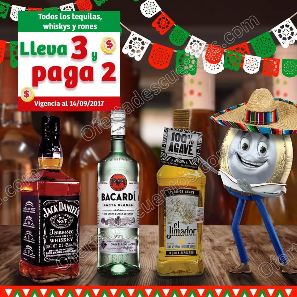 Soriana Mercado: 3×2 en Tequilas, Whiskys y Rones 14 de Septiembre 2017