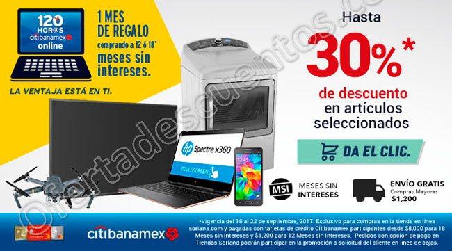 Soriana: Hasta 30% de descuento en Artículos Seleccionados más 1 Mes de Bonificación con Banamex