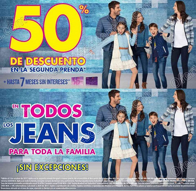Suburbia: 50% de descuento todos los Jeans al comprar segunda prenda