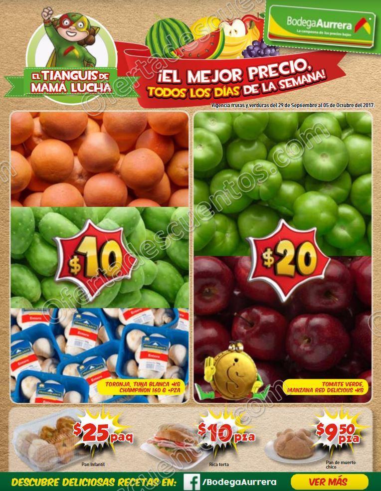 Bodega Aurrerá: Frutas y Verduras Tiánguis de Mamá Lucha del 29 de Septiembre al 5 de Octubre 2017