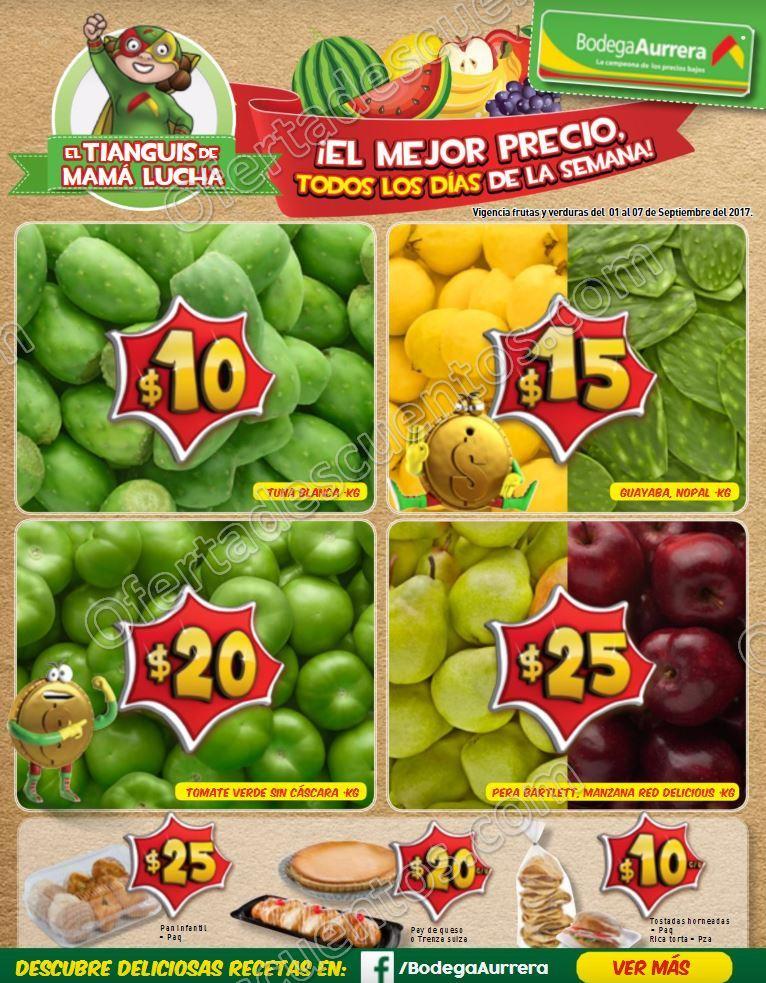 Frutas y Verduras Bodega Aurrerá Tiánguis de Mamá Lucha del 1 al 7 de Septiembre 2017