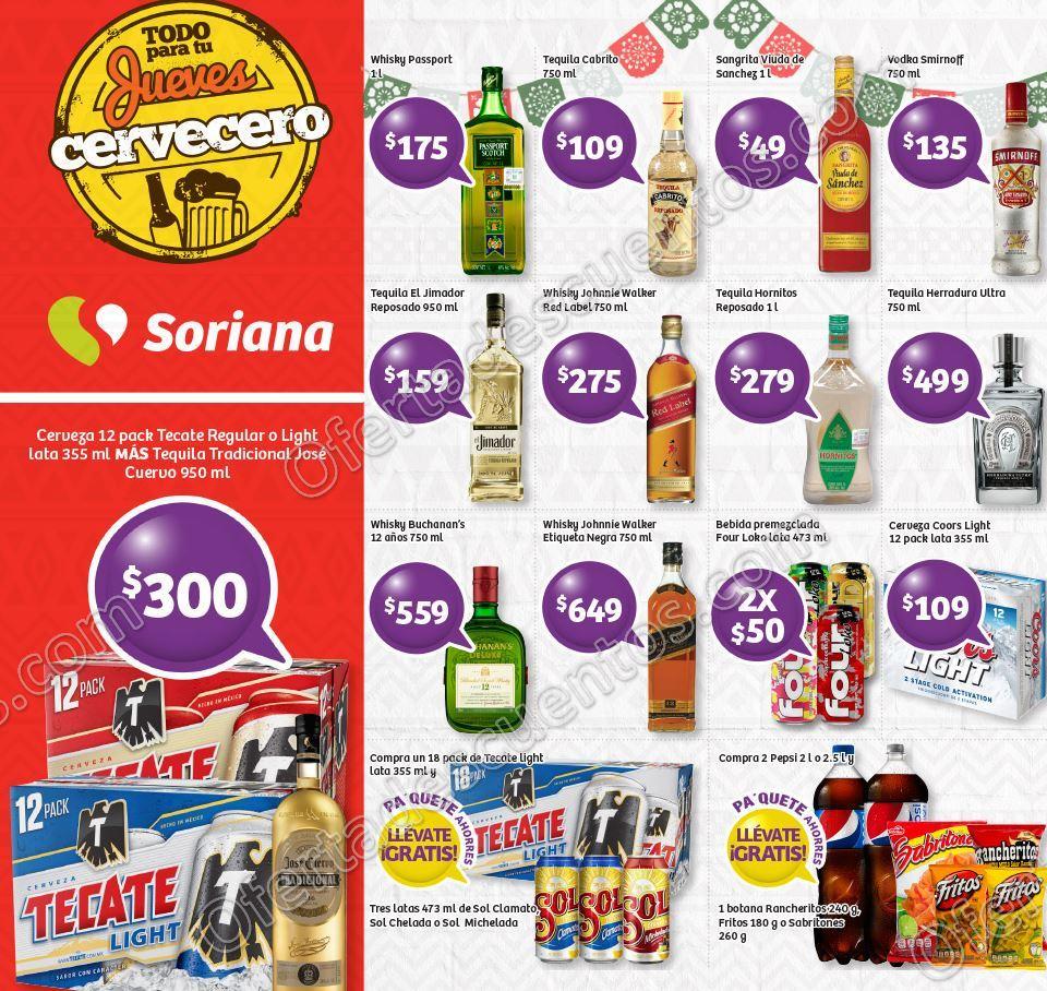 Ofertas en Vinos y Licores Jueves Cervecero Soriana 14 de Agosto 2017