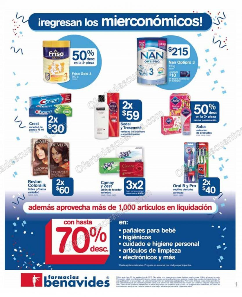 Farmacias Benavides: Regresan los Mierconómicos 20 de Septiembre 2017