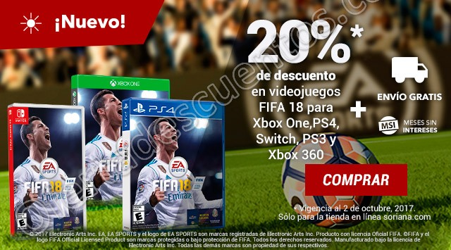 Soriana: 20% de descuento en FIFA 18 para Xbox One, PS4, Nintendo Switch, PS3 y Xbox 360