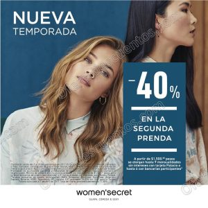 Women'Secret: 40% de descuento en la segunda prenda de Nueva Temporada
