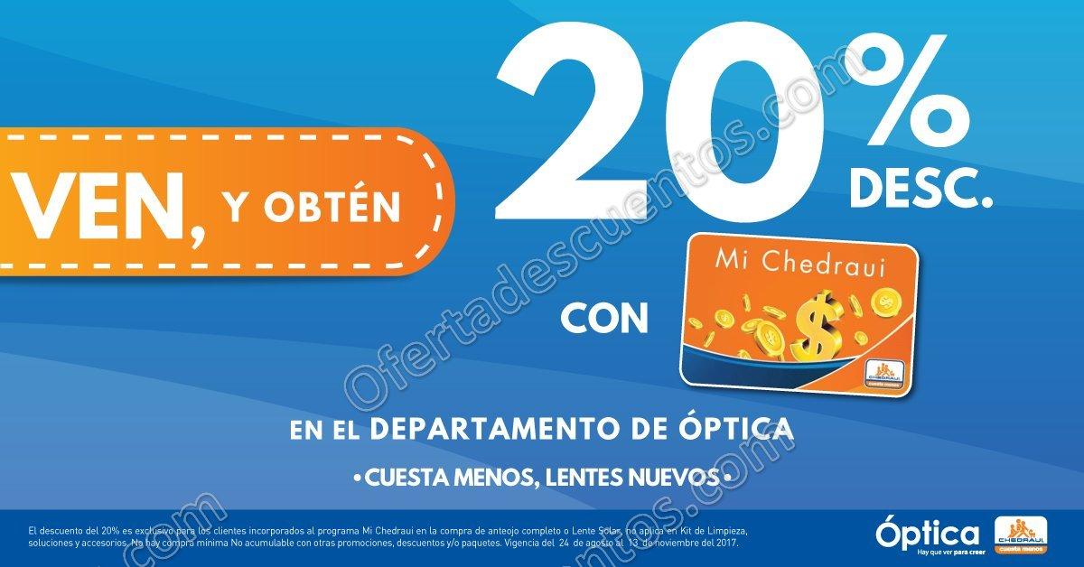 Chedraui  Armazón Gratis en la compra de Antirreflejante y 20% de descuento  en Óptica 59d1b8aa8c29