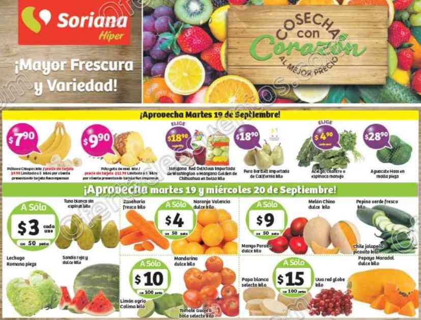 Frutas y Verduras Soriana 19 y 20 de Septiembre 2017