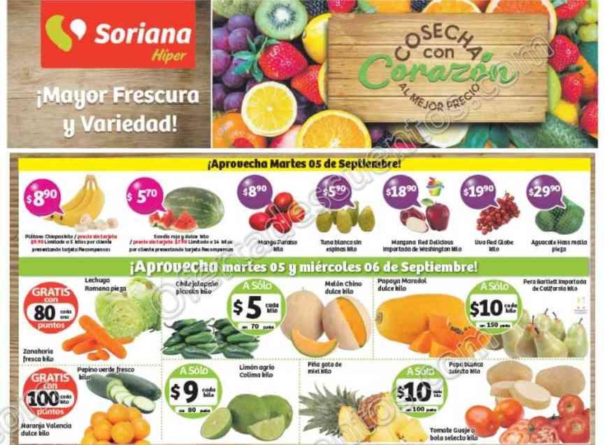 Frutas y Verduras Soriana 5 y 6 de Septiembre 2017