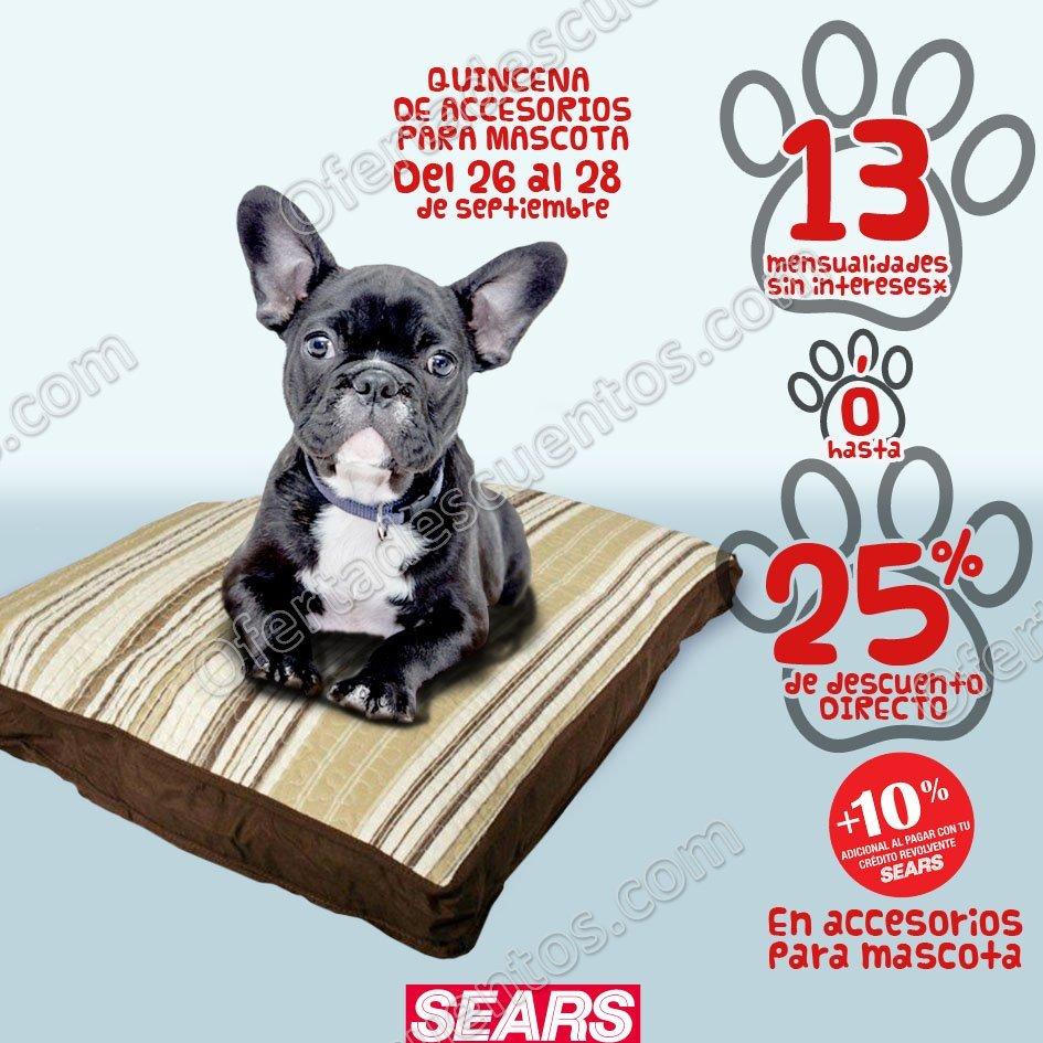 Sears: 25% de descuento en Accesorios para Mascotas del 26 al 28 de Septiembre