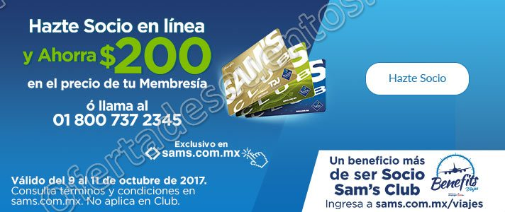 Sam's Club: $200 de Descuento en Membresía
