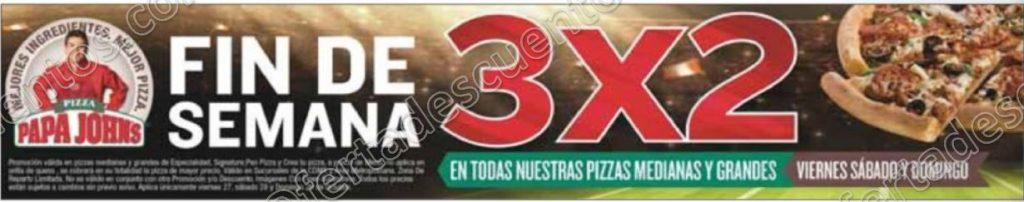Papa John's: 3×2 en Pizzas medianas y grandes del 27 al 29 de Octubre