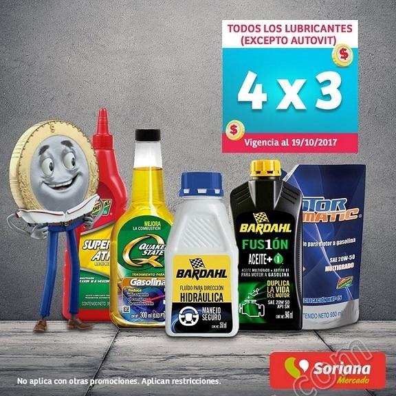 Soriana Mercado: 4×3 en Todos los Lubricantes para Autos al 19 de Octubre