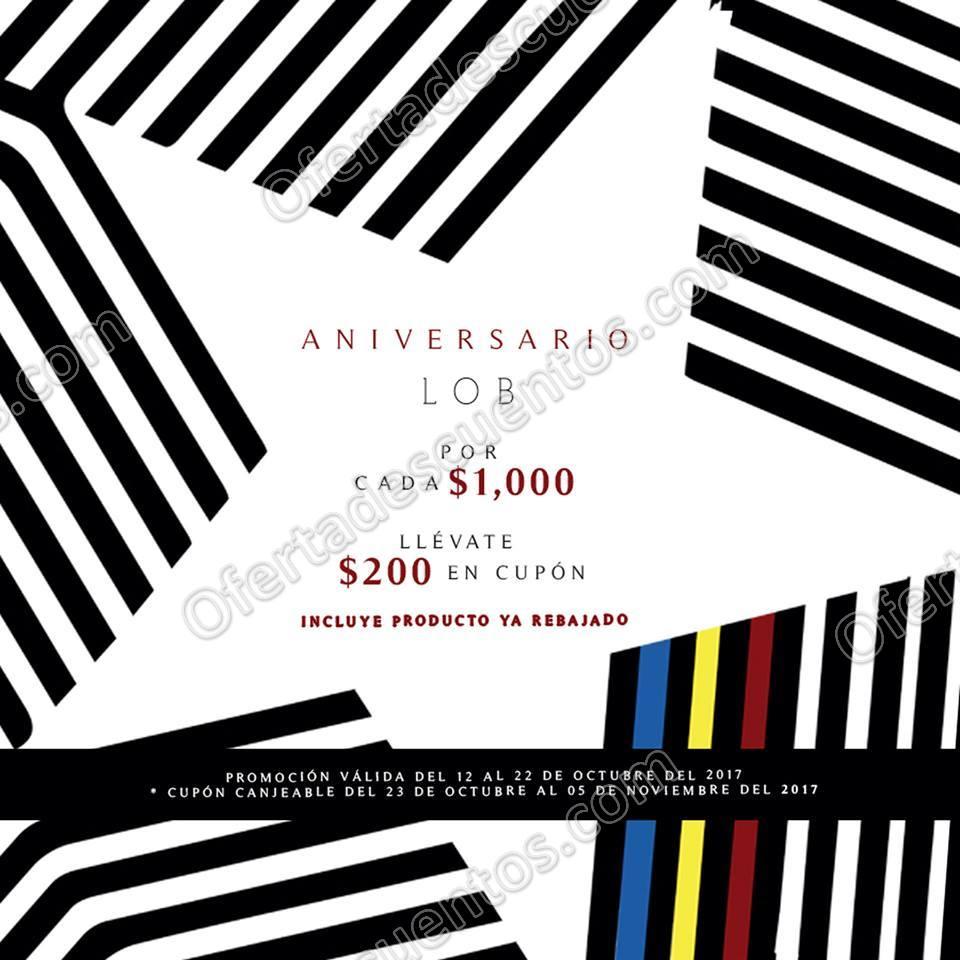 LOB: Promoción de Aniversario Cupón de $200 por cada $1,000 de compra