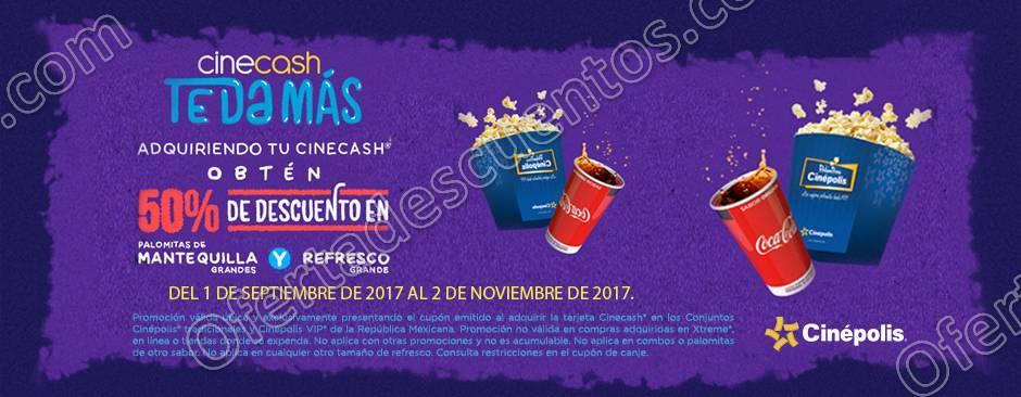 Cinépolis: Cinecash te da más 50% de descuento en Palomitas y Refresco Grandes