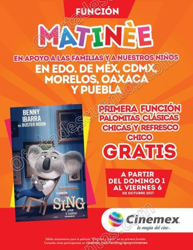 Apoyo Cinemex: Película más Palomitas más Refresco Gratis del 1 al 6 de Octubre 2017