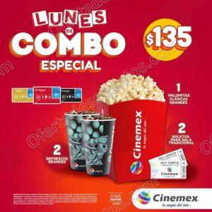 Cinemex: Lunes Combo Especial 2 Boletos más Palomitas grandes más 2 Refrescos por $139