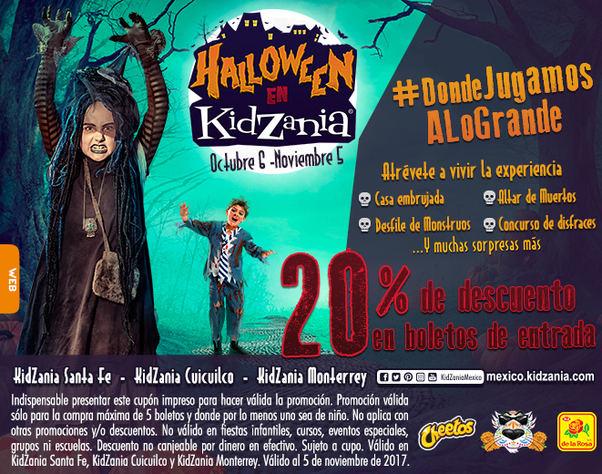 KidZania: 20% de descuento en Boletos de entrada del 6 de Octubre al 5 de Noviembre
