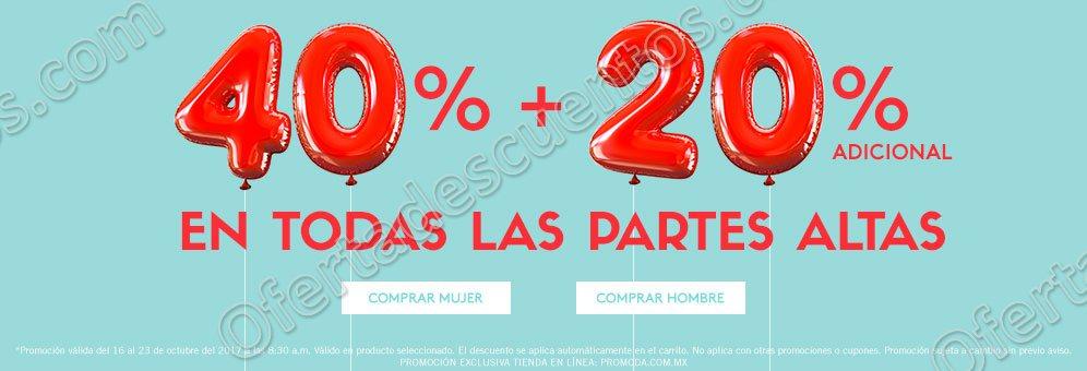 Promoda: 40% de descuento más 20% adicional y 60% de descuento en segunda compra
