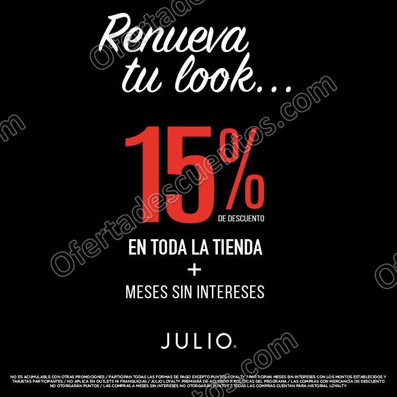 Julio: 15% de descuento en toda la Tienda más meses sin intereses