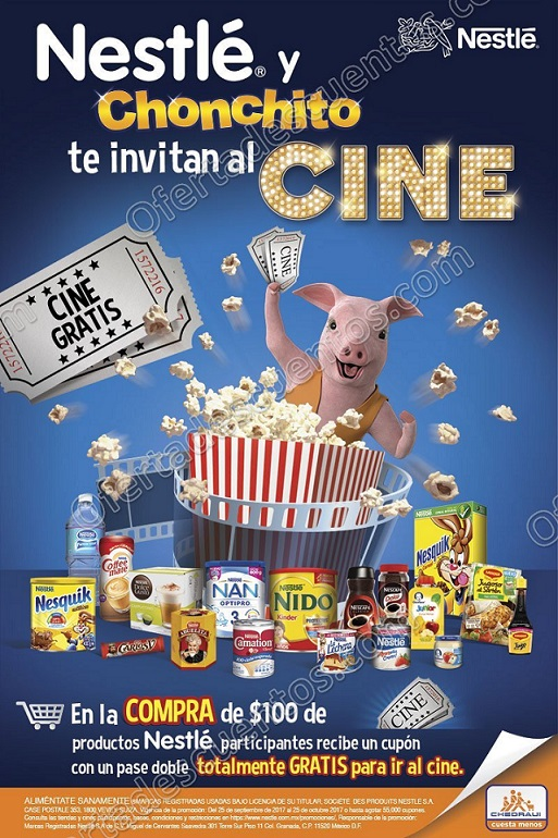 Promoción Chedraui: Nestlé y Chonchito te Invitan al Cine Boleto de 2×1 Gratis