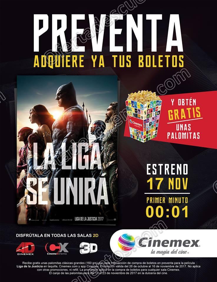Cinemex: Compra tus boletos en la Preventa Liga de la Justicia y recibe Palomitas gratis