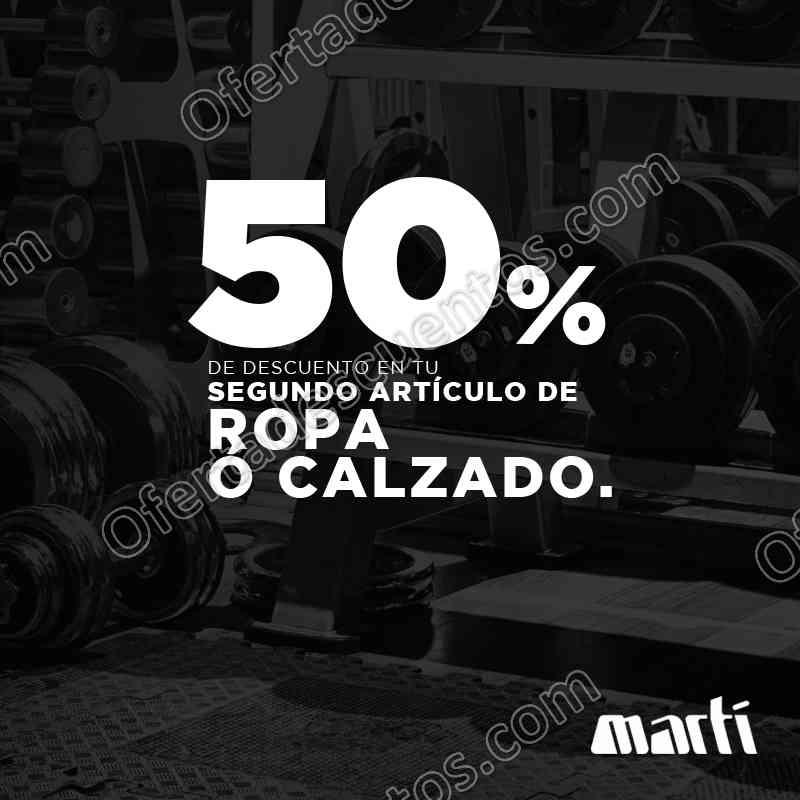 Martí: Ropa o Calzado con 50% de descuento en la segunda pieza/par al 31 de Octubre 2017