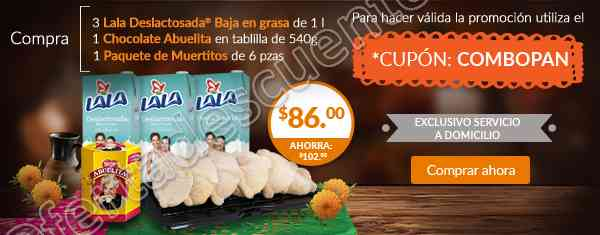 Superama: 3 Leches Lala de 1L más Chocolate Abuelita 540 g más Pan por $86