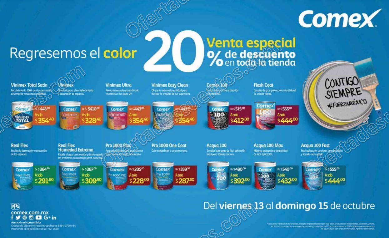 Comex: Venta Especial 20% de descuento en toda la tienda al 15 de Octubre