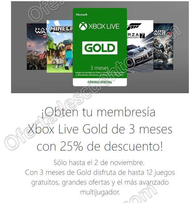 Xbox Store: 25% de descuento en Membresía Xbox Live Gold 3 meses