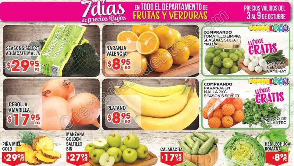 Frutas y Verduras HEB del 3 al 9 de Octubre 2017