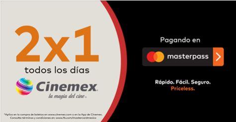 Cinemex: Entradas al 2×1 con Masterpass de MasterCard