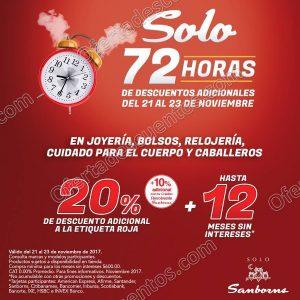 Sanborns: 72 horas de descuentos 20% adicional a la etiqueta roja al 23 de Noviembre 2017