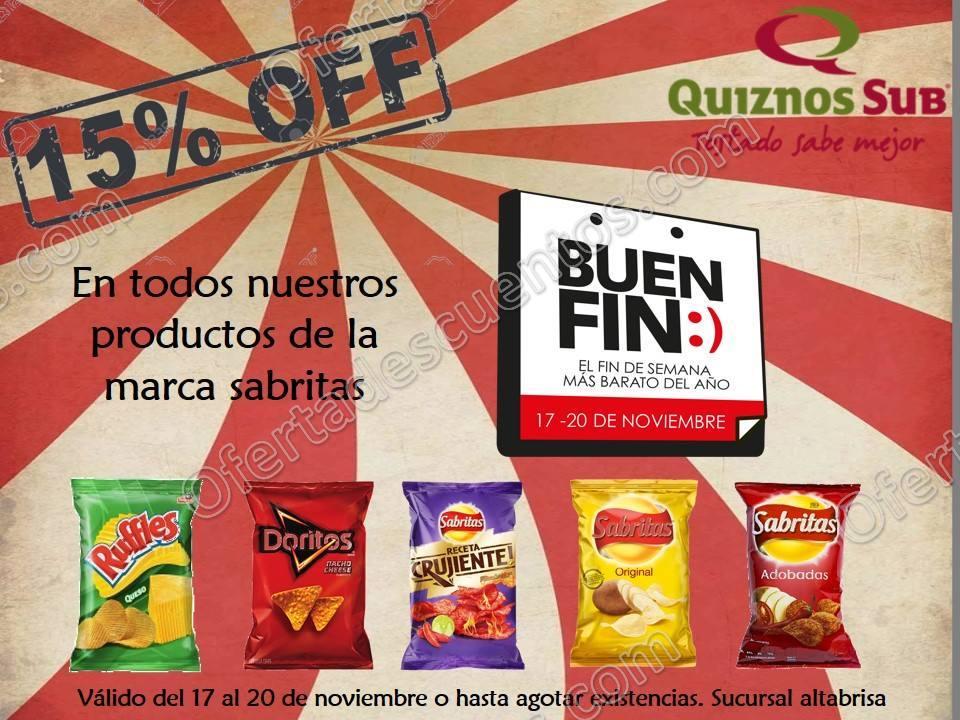 El Buen Fin 2017 Quiznos Sub: 15% de descuento