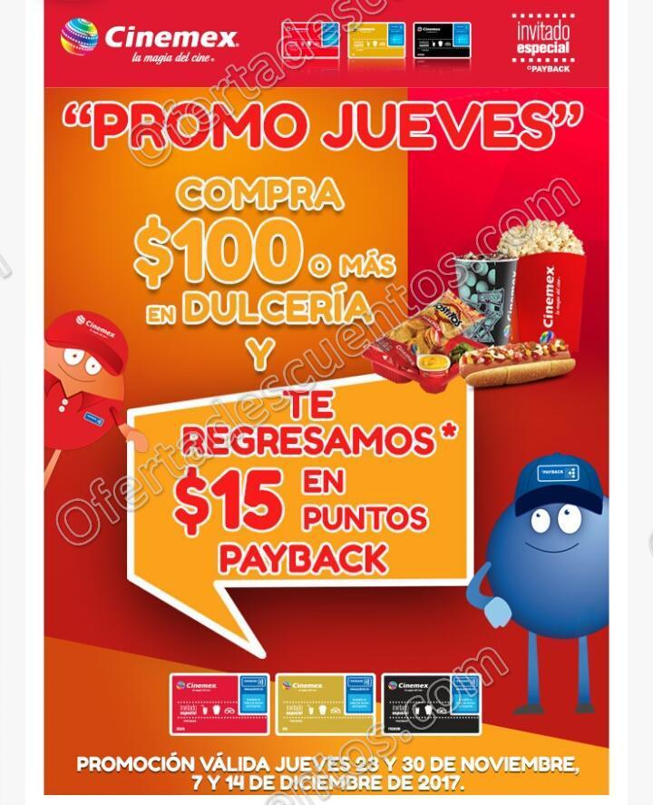 Cinemex: Promo Jueves $15 de bonificación al comprar $100 o más en Dulcería