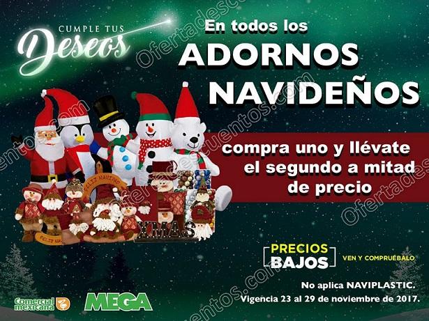 Comercial Mexicana: Adornos Navideños con 50% de descuento en la segunda pieza