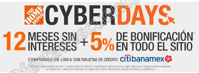 The Home Depot: Cyberdays 12 meses sin intereses más 5% de bonifición con Citibanamex