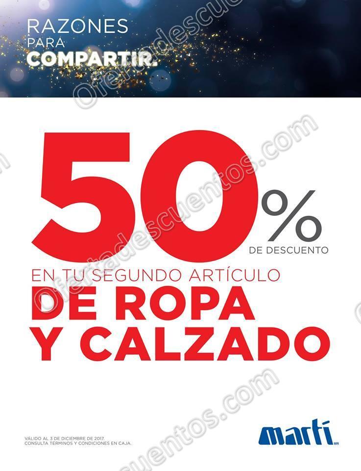 Martí: 50% de descuento en segundo artículo de Ropa y Calzado al 3 de Diciembre 2017