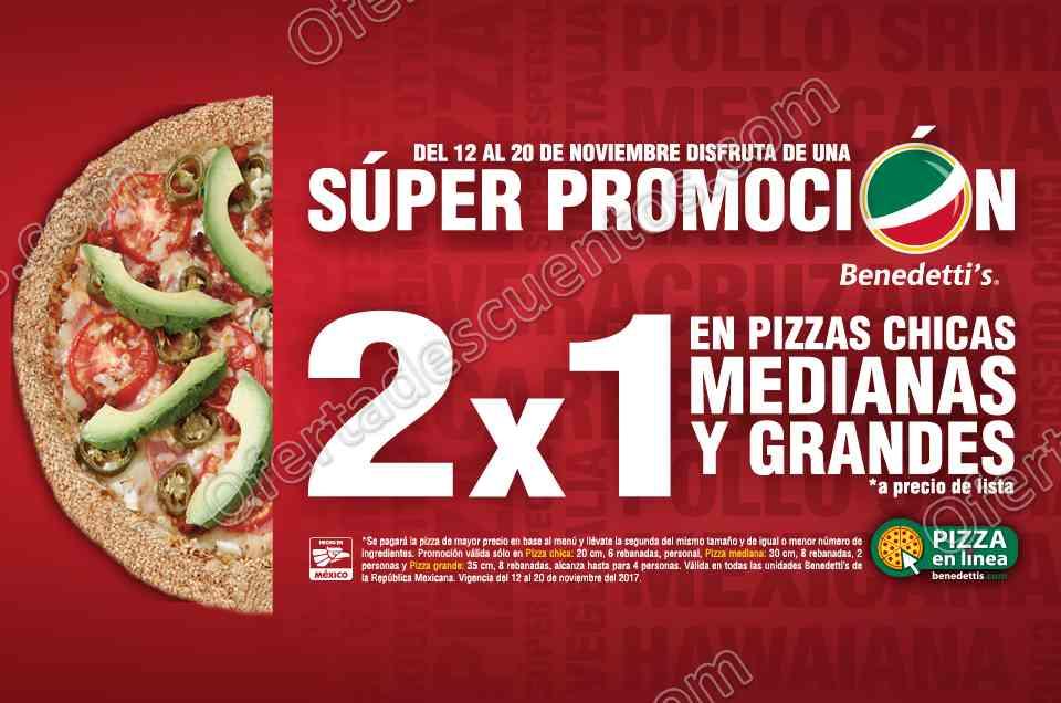 El Buen Fin 2017 Benedetti's: 2×1 en Pizzas chicas, medianas y grandes