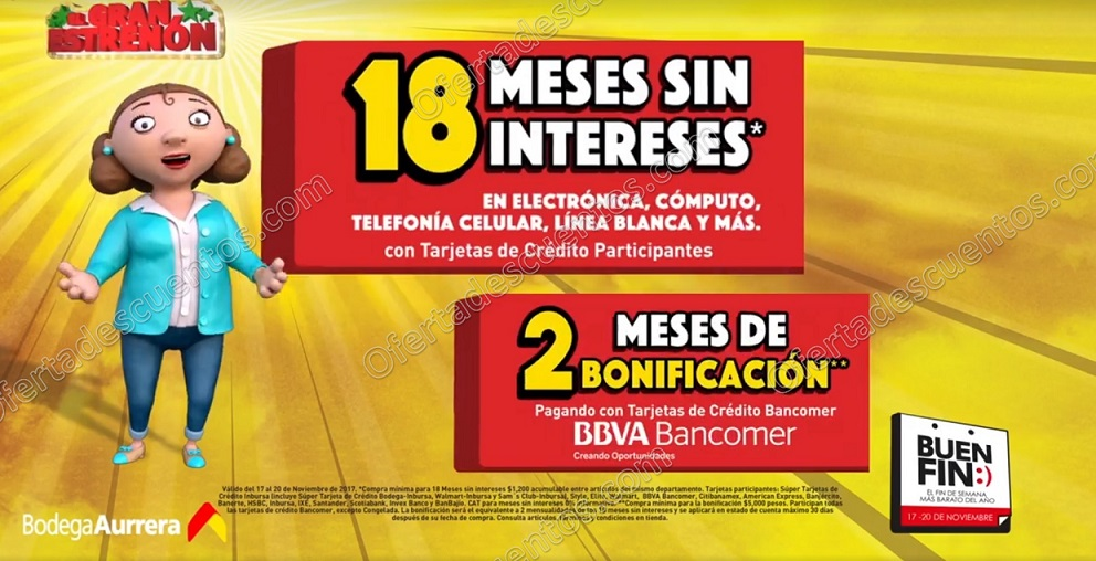 El Buen Fin 2017 Bodega Aurrerá: 2 meses de Bonificación + 18 Meses sin Intereses con Bancomer