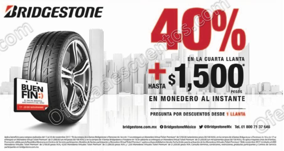El Buen Fin 2017 Bridgestone: 40% de descuento en la 4° llanta más bonificación