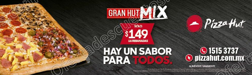 Pizza Hut: Pizza Gran Hut Mix a $149 y Gran Hut Mix Cheddar a $199