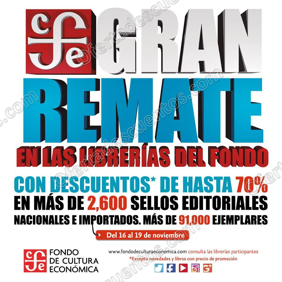 Fondo de Cultura Económica: Gran Remate de Libros con Hasta 70% de descuento