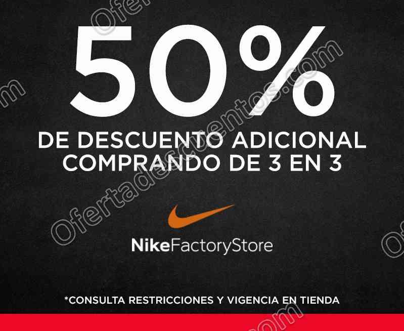 Nike Factory Store: 50% de descuento adicional comprando 3 artículos