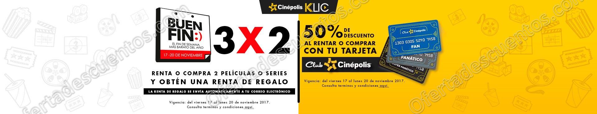 Promoción Buen Fin 2017 Cinépolis Klic: 3×2 en Rentas o Compra de Películas o Series
