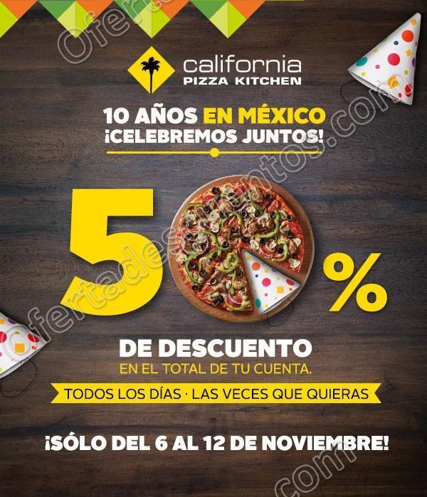 California Pizza Kitchen: Promoción de Aniversario 50% de descuento en el Total de tu compra