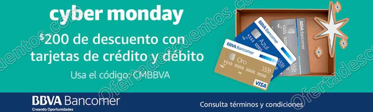 Promociones Cyber Monday Amazon 2017: $200 de descuento con BBVA Bancomer y más