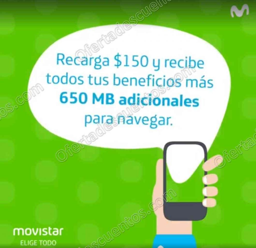 Movistar: Recarga $150 en Oxxo y recibe Gratis 650 MB para navegar