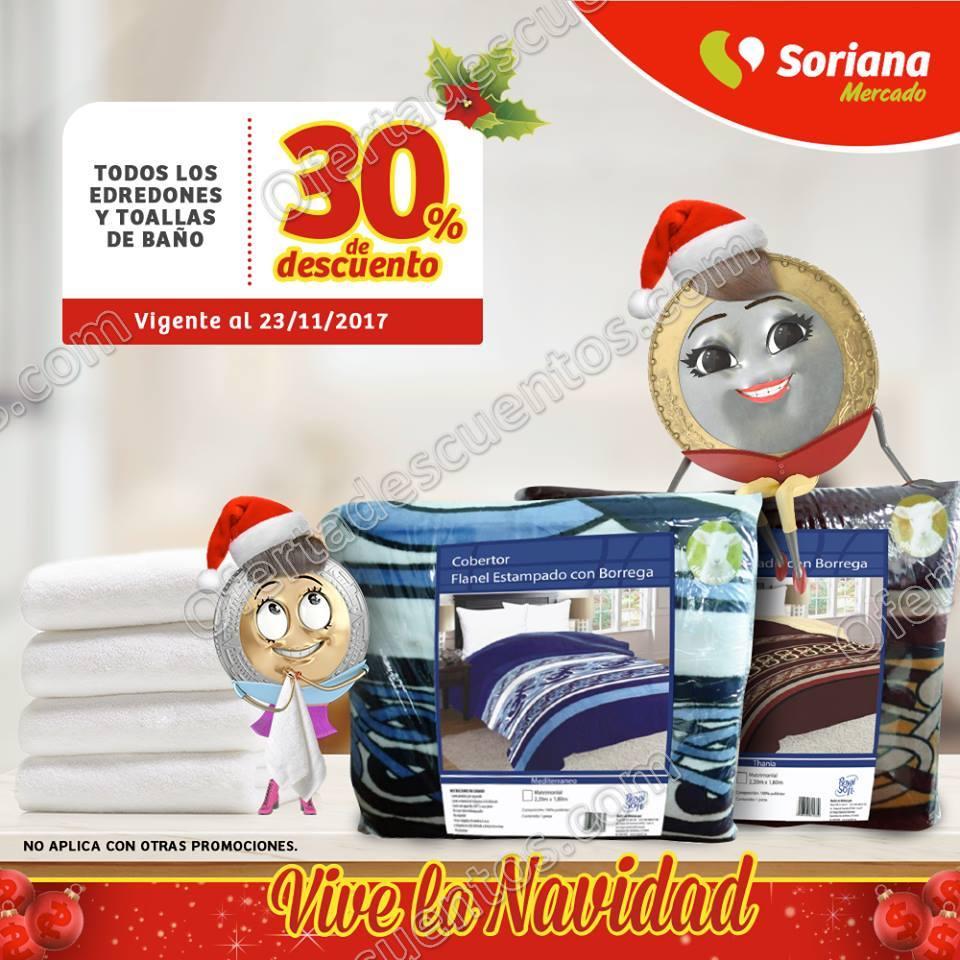 Soriana Mercado: 30% de descuento en Edredones y Toallas de baño 23 de Noviembre 2017