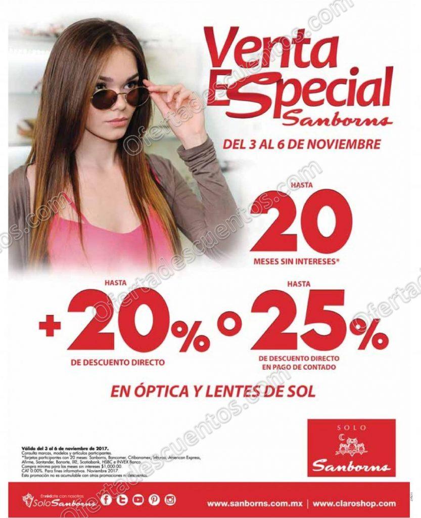 Venta Especial Sanborns: Hasta 25% de descuento en Óptica y Lentes de Sol al 6 de Noviembre